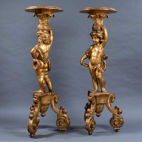 Furniture  - A pair of Louis XIV giltwood porte-torcheres, Paris, circa 1670