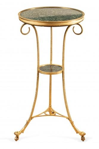 18 th  French fine Tripod pedestal table in gilded bronze - Louis XVI