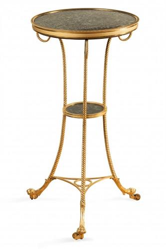 Louis XVI - 18 th  French fine Tripod pedestal table in gilded bronze
