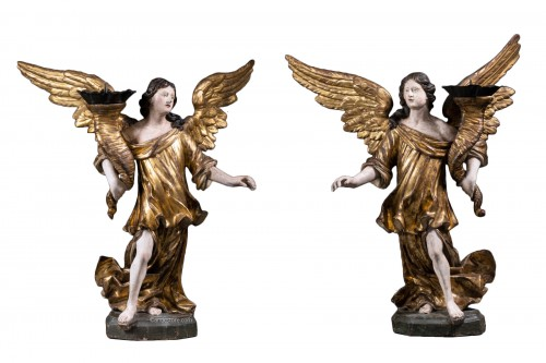A 17th c. North Italian pair of candle-holder angels
