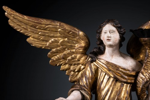 A 17th c. North Italian pair of candle-holder angels - Sculpture Style Renaissance