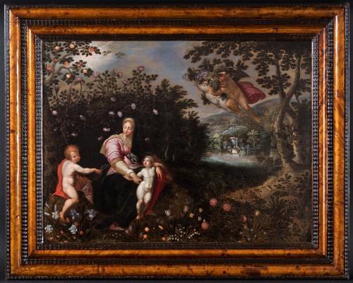 Virgin with child attributed to Jan Brueghel the Elder & Jacob de Backer - Paintings & Drawings Style Louis XIII