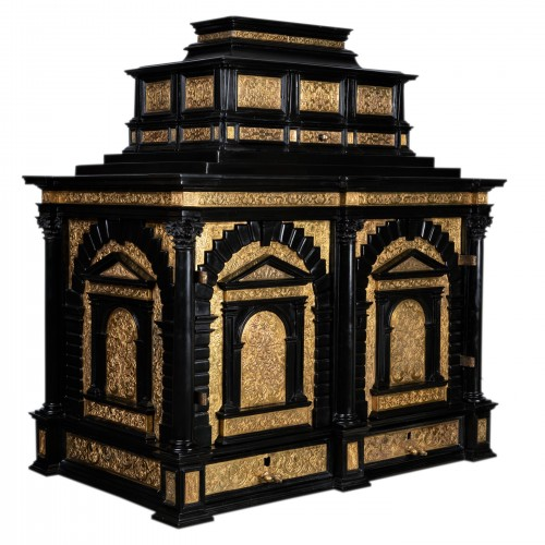 A 16th c. Nuremberg important ebony and brass cabinet