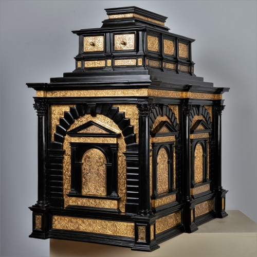 A 16th c. Nuremberg important ebony and brass cabinet -