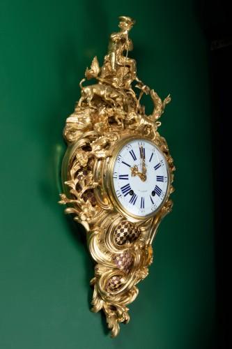 "A Louis XV ""fox hunt"" cartel clock signed Dutertre - Horology Style Louis XV"