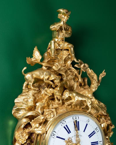 "Louis XV - A Louis XV ""fox hunt"" cartel clock signed Dutertre"
