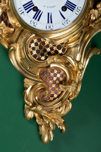 "Antiquités - A Louis XV ""fox hunt"" cartel clock signed Dutertre"