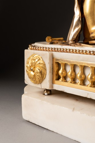 """18th century - A Louis XVI """"Cupid"""" white marble and gilt bronze clock"""