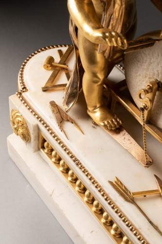 "A Louis XVI ""Cupid"" white marble and gilt bronze clock - Louis XVI"