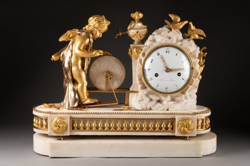 "Louis XVI - A Louis XVI ""Cupid"" white marble and gilt bronze clock"