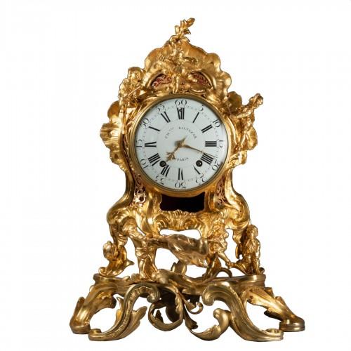 """An important Louis XV gilt bronze clock """"Commedia dell'arte"""""""