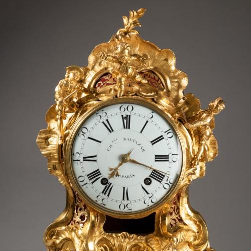 "Horology  - An important Louis XV gilt bronze clock ""Commedia dell'arte"""