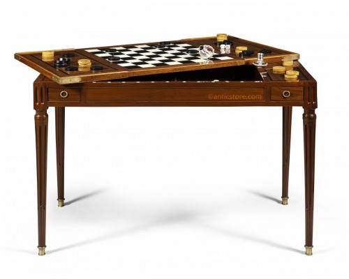 "Louis XVI period game table, called ""tric trac"", stamped by Fidelys SCHEY"