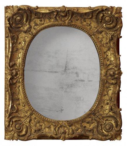 Louis XV giltwood frame mounted as a mirror - Mirrors, Trumeau Style Louis XV