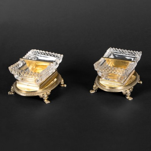 Pair of saltcellars in cristal and vermeil by LEGAY & LEGRAND, circa 1819 - Antique Silver Style Restauration - Charles X