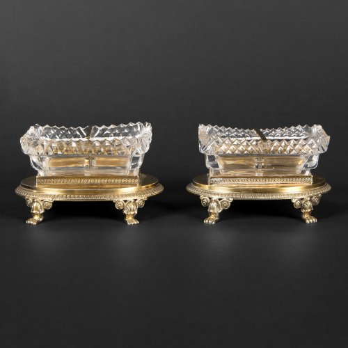 Antique Silver  - Pair of saltcellars in cristal and vermeil by LEGAY & LEGRAND, circa 1819