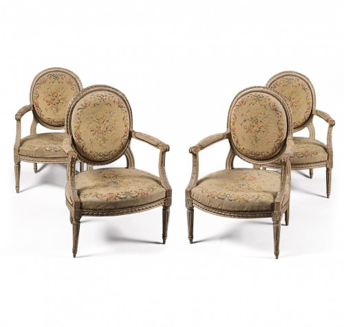 "Suite of four Louis XVI fauteuils ""à la reine"" stamped N-T Porrot"