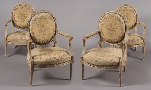 "Suite of four Louis XVI fauteuils ""à la reine"" stamped N-T Porrot -"