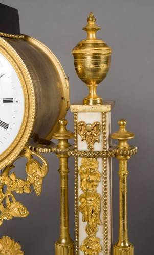 Clocks  - French Louis XVI period white Carrare marble clock