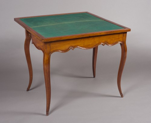 Furniture  - Games Table In Solid Mahogany, Louis XV Period (18th Century), Work From Po