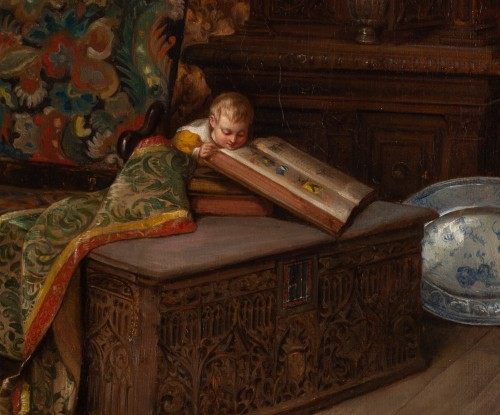 Paintings & Drawings  - Hippolyte-Benjamin ADAM (1808-1853) – Child In A Neo-gothic Interior