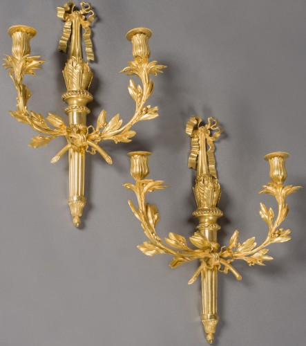 Lighting  - Exceptional pair of wall lights, Louis XVI period, end of the 18th century