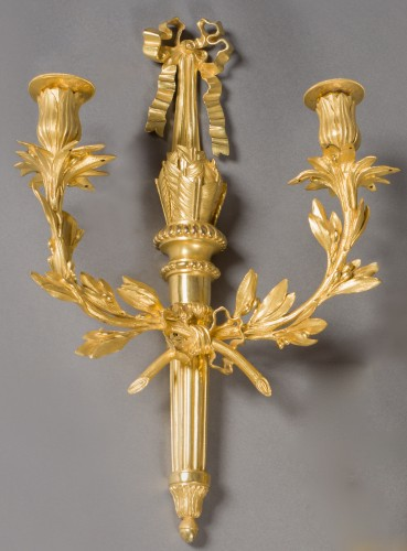 18th century - Exceptional pair of wall lights, Louis XVI period, end of the 18th century
