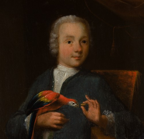 Child with parrot, German school of the early eighteenth century -