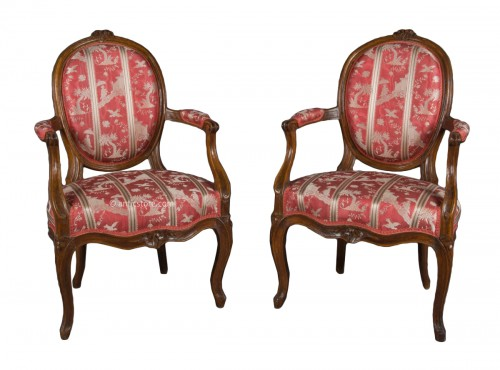 Paire of cabriolet armchairs, France, Transition style, 18th century period