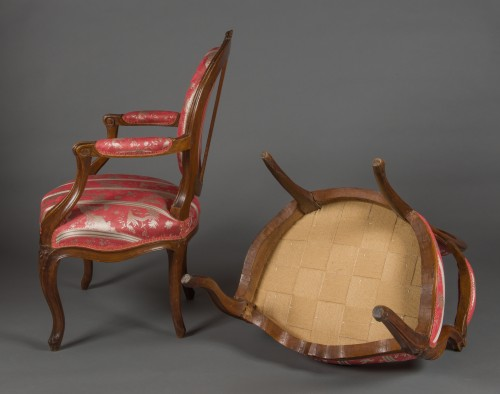 Pair of cabriolet armchairs, France, Transition style, 18th century period -