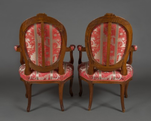 18th century - Pair of cabriolet armchairs, France, Transition style, 18th century period