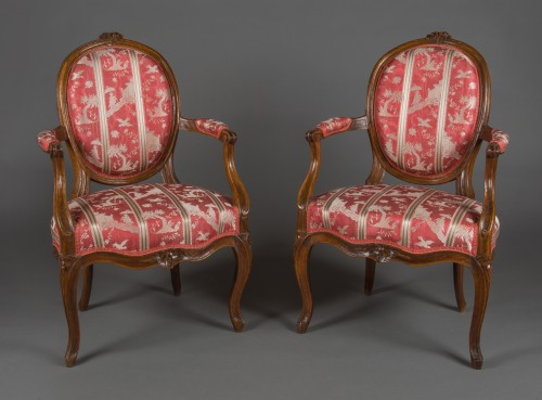 Pair of cabriolet armchairs, France, Transition style, 18th century period - Transition