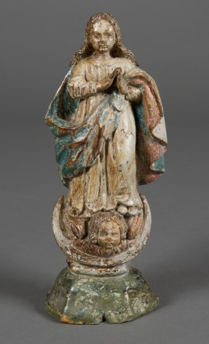 Virgin of the Assumption, Spain or Portugal, 17th century - Sculpture Style Louis XIII