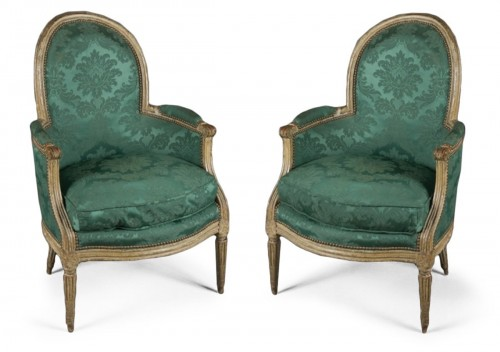 Pair of Louis XVI bergères stamped NDLPS for Nicolas-Pierre DELAPORTE, 18th
