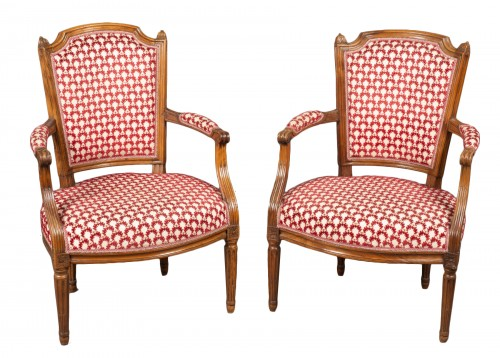 "Pair ""cabriolet"" armchairs, Louis XVI period, 18th century"