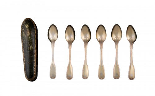 Suite of six golden silver spoons, Strasbourg, 1780-1784, by F-D IMLIN