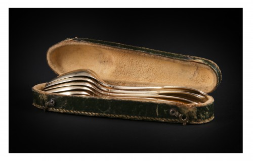 Antique Silver  - Suite of six golden silver spoons, Strasbourg, 1780-1784, by F-D IMLIN