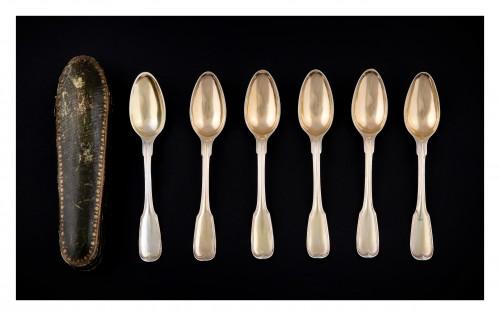 Suite of six golden silver spoons, Strasbourg, 1780-1784, by F-D IMLIN -