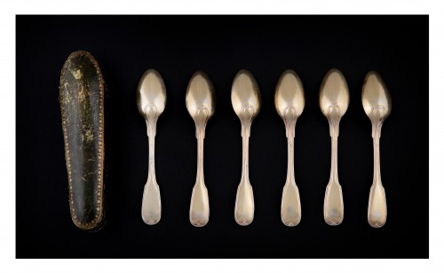 18th century - Suite of six golden silver spoons, Strasbourg, 1780-1784, by F-D IMLIN