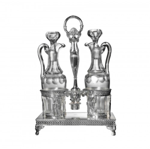 Silver oil and vinegar cruet, Restauration period (1814-1830), by Chatenay
