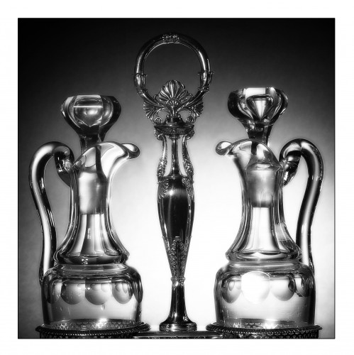 Silver oil and vinegar cruet, Restauration period (1814-1830), by Chatenay - Antique Silver Style Restauration - Charles X