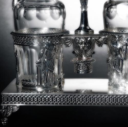 Silver oil and vinegar cruet, Restauration period (1814-1830), by Chatenay -