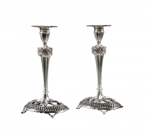 Pair of sterling silver candlesticks, Lisbon, Portugal, early 20th century