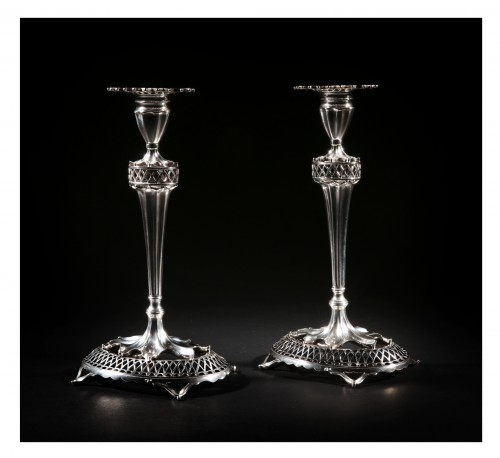 Pair of sterling silver candlesticks, Lisbon, Portugal, early 20th century - Antique Silver Style Art nouveau