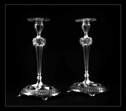 Antique Silver  - Pair of sterling silver candlesticks, Lisbon, Portugal, early 20th century