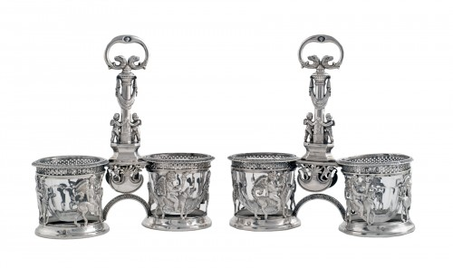 Pair of saltcellars in sterling silver, Restoration period (1814-1830)