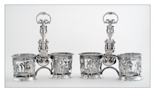 Pair of saltcellars in sterling silver, Restoration period (1814-1830) - Antique Silver Style Restauration - Charles X