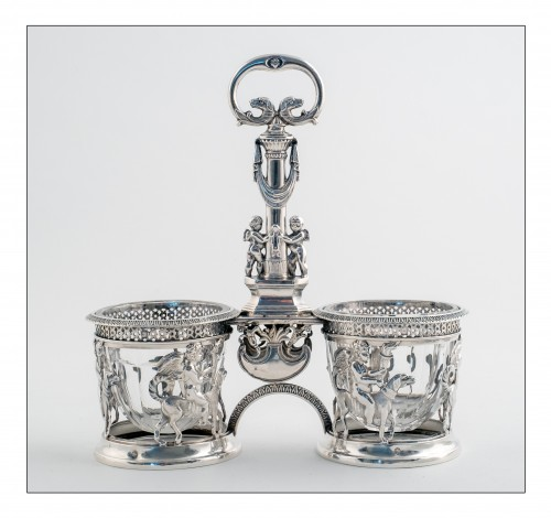 Antique Silver  - Pair of saltcellars in sterling silver, Restoration period (1814-1830)