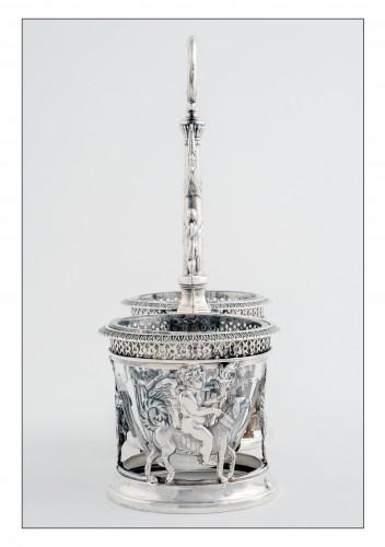 Pair of saltcellars in sterling silver, Restoration period (1814-1830) -