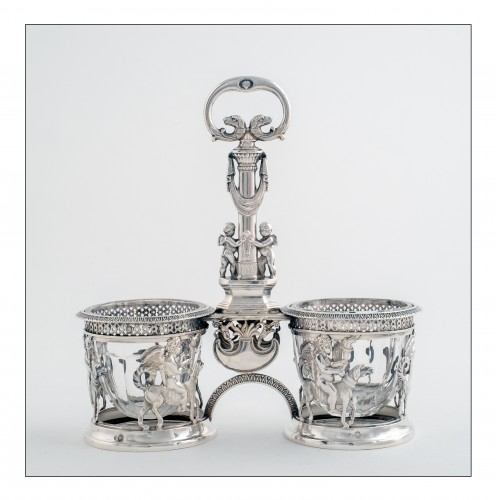 19th century - Pair of saltcellars in sterling silver, Restoration period (1814-1830)